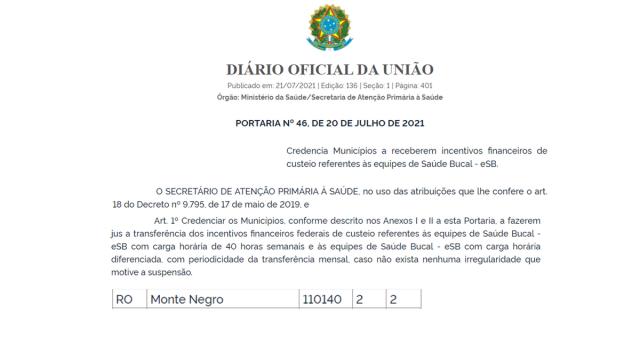 📍Monte Negro recebe credenciamento de novos serviços pelo Ministério da Saúde📊