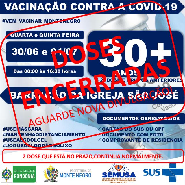 ENCERRAMENTO DE DOSES DE VACINA - COVID-19 - + 30 ANOS